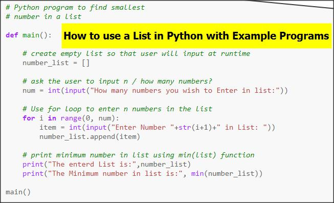 List in Python Language With Example Programs