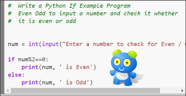 Python if example program to check a number is even or odd