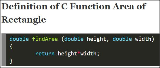 C Function Area of Rectangle