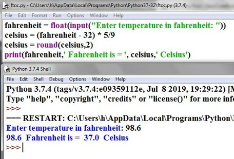Python-program-temperature-conversion-Fahrenheit-to-Celsius