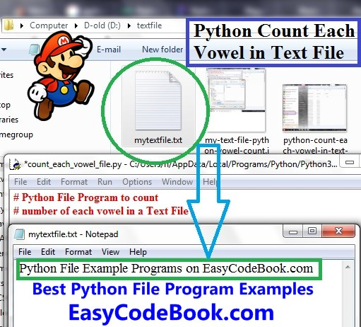 Python find count of each vowel in text file