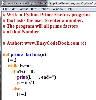 Python Prime Factors Program