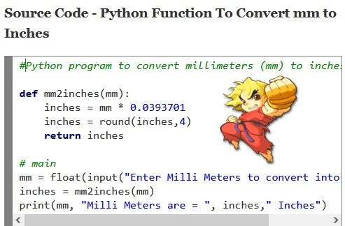 Python convert millimeters to inches program using function